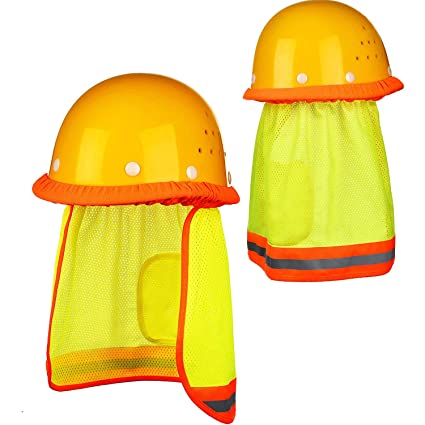 556c6511 BBTO 2 Pack Sun Neck Shield High Visibility Mesh Sun Protector Reflective  Mesh Set for Hard Hats Safety Hats, Yellow