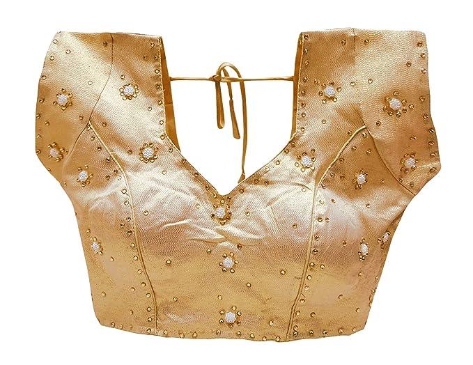 PEEGLI Blusa Acolchada De Diseño Blusas De Sari con Cuentas Crop Top Choli