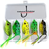 Bass Topwater Frog Lures Kit - Soft Plastic Fishing Lures Bait 5 Pc - Bass and Pike - Tackle Box for Your Bass Fishing…