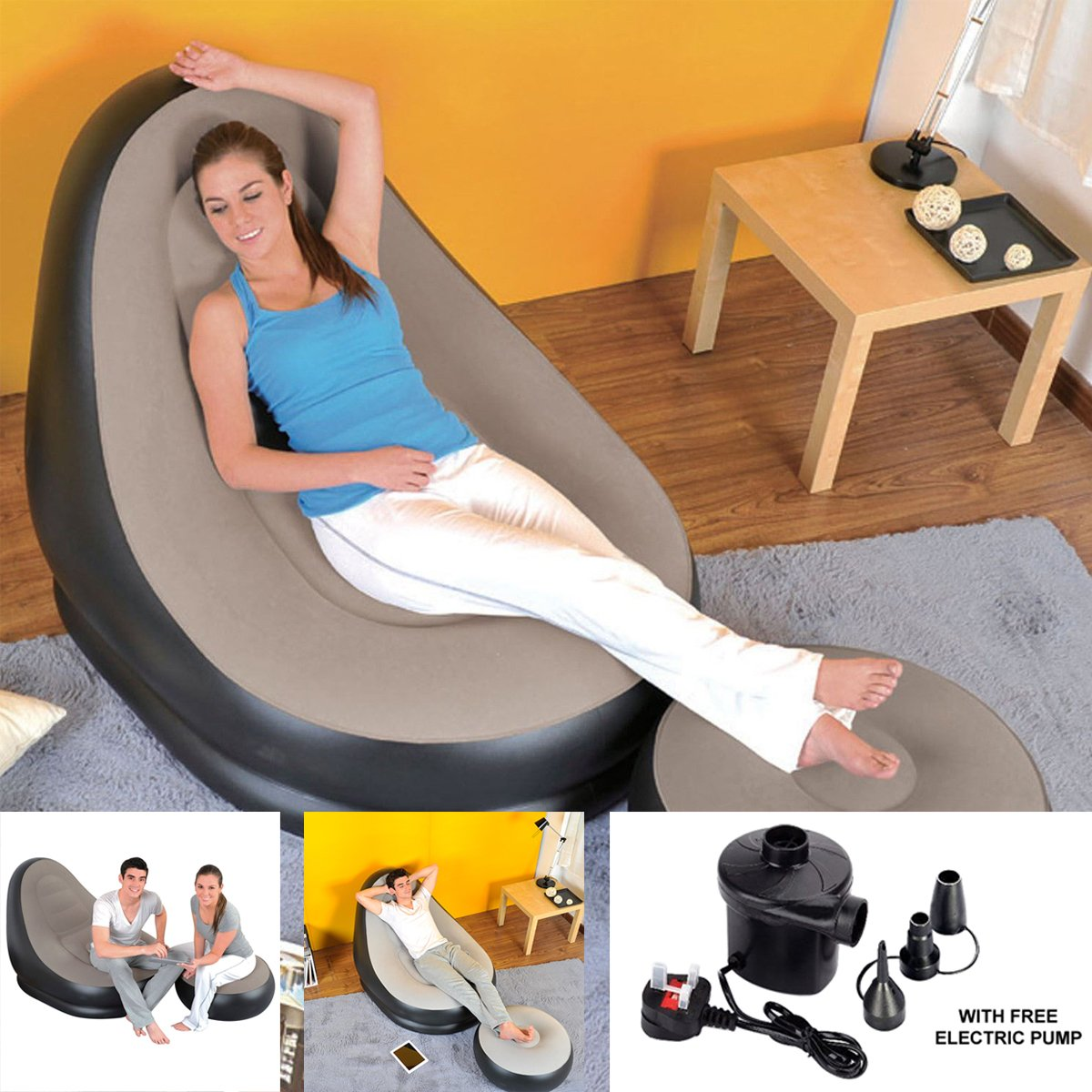 Admirable Deluxe Inflatable Lounge Lounger Chair With Ottoman Relax Foot Stool Seat With Free Electric Pump Onthecornerstone Fun Painted Chair Ideas Images Onthecornerstoneorg