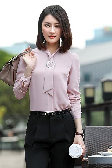 3403b5ffa8ebf3 Amazon.com   Autumn cloud butterflies professional female long-sleeved shirt  Slim temperament interview dress jewelery shop tooling overalls for women  girl ...