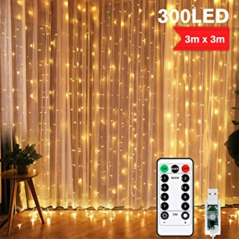 300 LED 3x3m Weihnachten Beleuchtung Vorhang Lichterkette Fenster Lichtervorhang