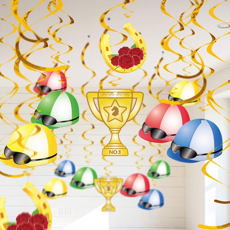 30PCS Kentucky Derby Day Party Hanging Swirl Decorations - Horse Race Jockey Helmet Whirls Ceiling Supplies Decor