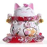 Maneki Neko - Japanese Lucky Cat with Two Bells - High-quality, Ornately Decorated Porcelain
