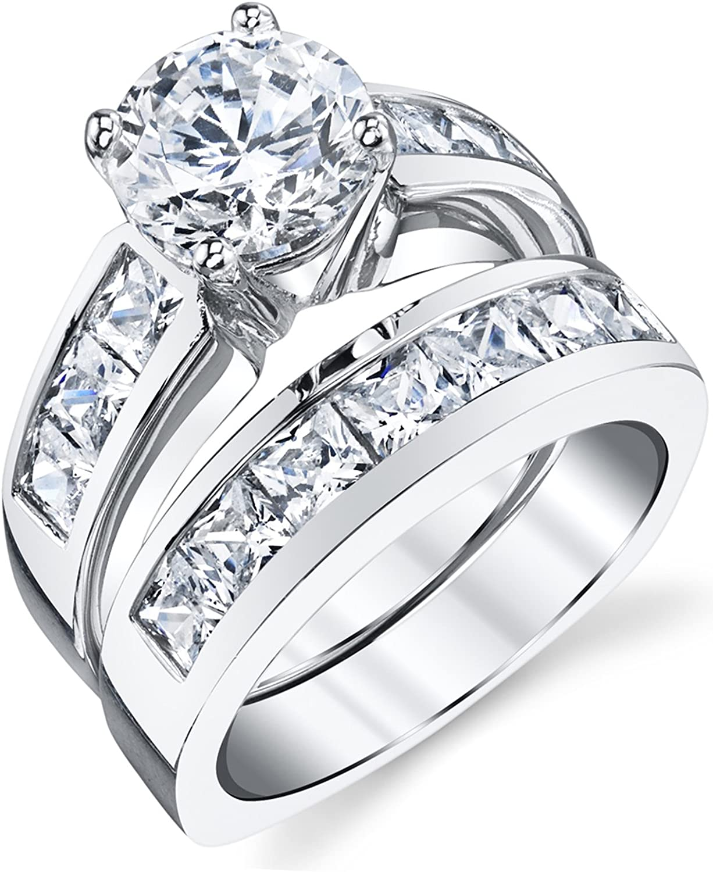 Amazon Com Sterling Silver Bridal Set Engagement Wedding Ring