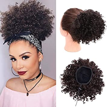 Vigorous Afro Curly Ponytail Hair Piece For African American Black Women Clip In Ponytail Extension Afro