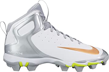 Nike Men's Alpha Huarache Keystone Mid Baseball Cleats(White/Gold, 12 D(