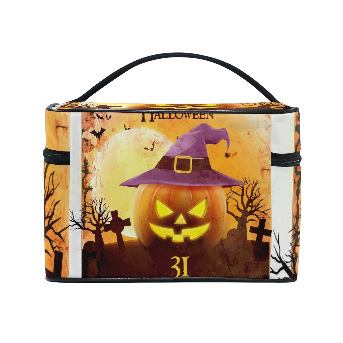 Amazon.com : ALIREA Halloween Smiling Pumpkin Cosmetic Bag Travel Makeup Train Cases Storage Organizer : Beauty