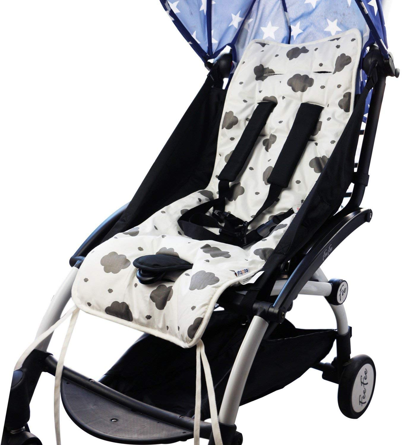 Quick and Easy Install Jogger Reversible Pure Cotton Universal Baby Seat Liner for Stroller Car Seat Bouncer Supports Newborns Infants Thick Cushion and Toddlers