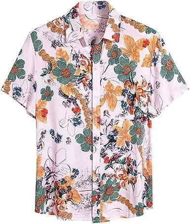 Nueva Camisa Hawaiana para Hombre Camisas Estampada Unisex Primavera y Verano Moda Manga Corta Shirt Casual cómodo Top de Playa Hombres Hawaiano Camiseta Floral: Amazon.es: Ropa y accesorios