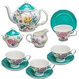 Grace Teaware Bone China 11-Piece Tea Set (Bali Turquoise)