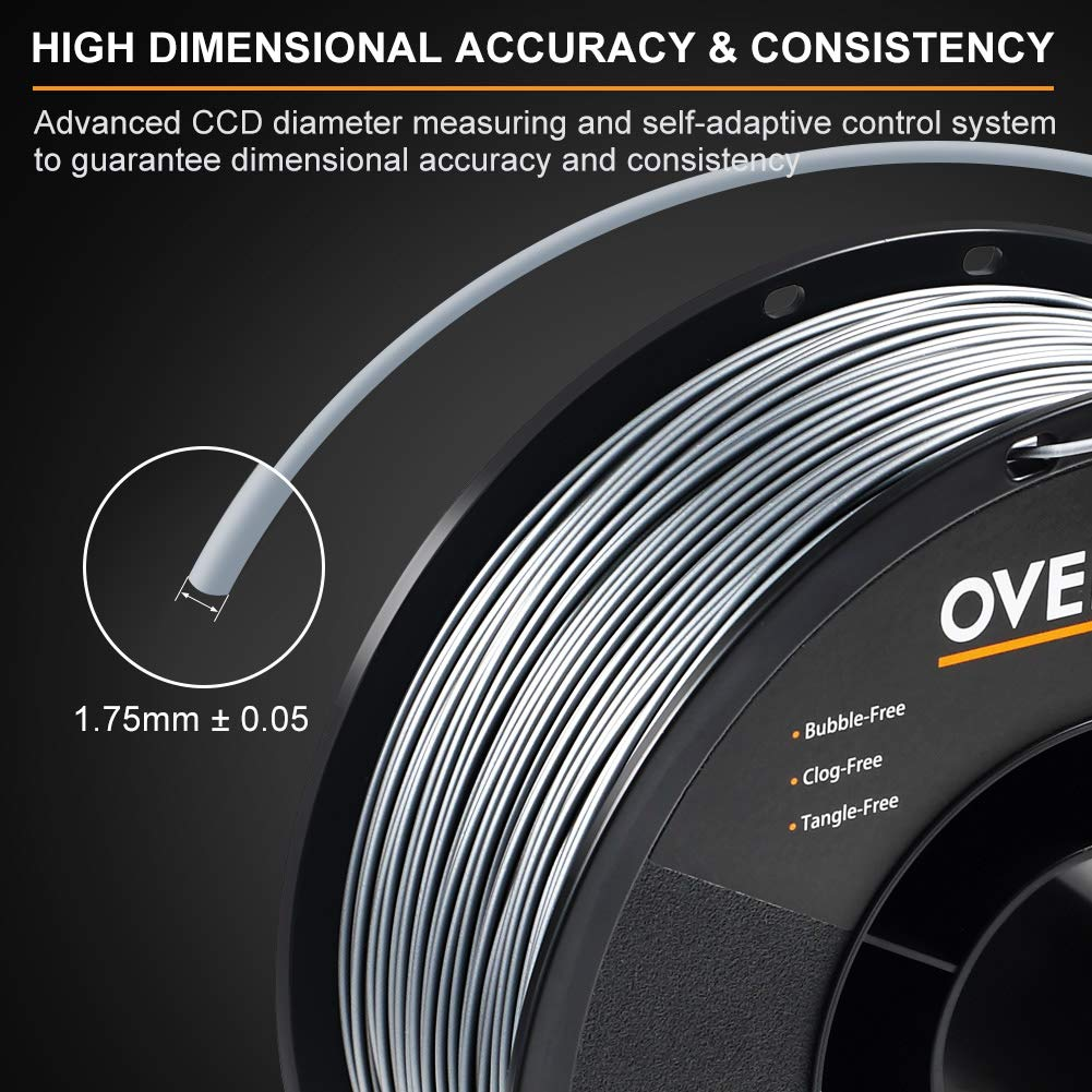 2kg PLA Multipack 2.2lbs// Spool OVERTURE PLA Filament 1.75mm with 3D Build Surface 200mm /× 200mm 2 Pack/ Fit Most FDM Printer Space Gray Dimensional Accuracy +//- 0.05 mm