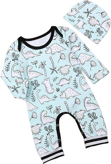 Baby Boys Long Sleeve Romper Cartoon Dinosaur Printed Jumpsuit Casual Bodysuit
