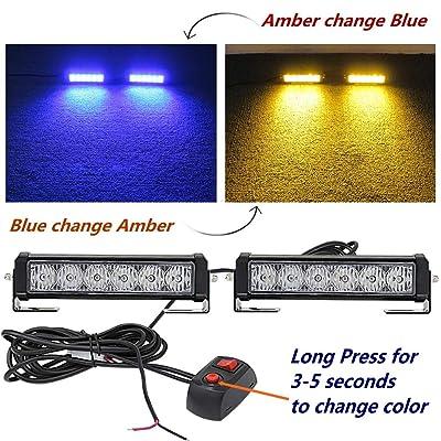 2PC 12V24V6Led Amber Strobe Blue Police Emergency Light Bar Warning Deck Dash Grille Light for Utility Vehicle Motorcycle Car Trucks Jeep Offroad SUV UTV ATV: Automotive