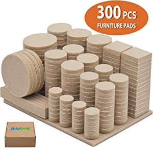 Furniture Pads 300 Pack Premium Furniture Felt Pads (Beige), Huge Quantity Self Adhesive Felt Pads, Anti Scratch Floor Protector for Furniture Legs Hardwood Floor with 60 Cabinet Door Bumpers