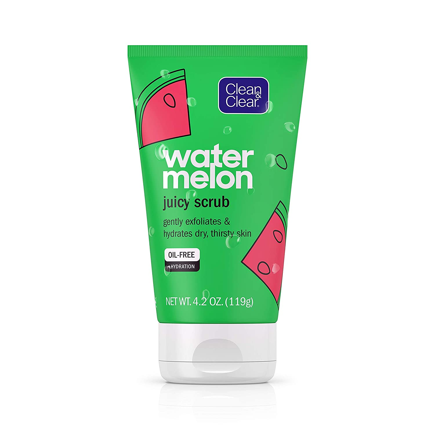 Clean & Clear Hydrating & Exfoliating Juicy Watermelon Face Scrub, Buffs Dirt & Oil While Cleansing & Quenching Dry Skin, Gentle & Oil-Free Daily Facial Cleanser, 4.2 oz
