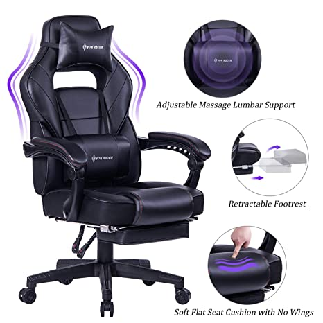 Superb Von Racer Massage Reclining Gaming Chair Ergonomic High Back Racing Computer Desk Office Chair With Retractable Footrest And Adjustable Lumbar Machost Co Dining Chair Design Ideas Machostcouk