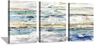 Abstract Canvas Wall Art Prints: Seascape Painting Artwork Picture for Bedroom (16'' x 12'' x 3 Panels)