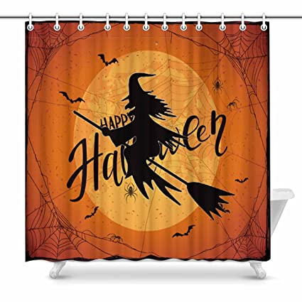 InterestPrint Happy Halloween With Witch Shower Curtain Home Decor Collection Bath Waterproof Fabric