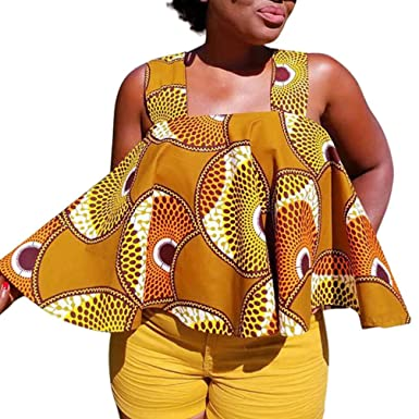 3b7bb7ec7cae Oksale Women African Print Tee Shirt Sleeveless Tops Strapless Blouse Plus  Size T Shirt at Amazon Women's Clothing store:
