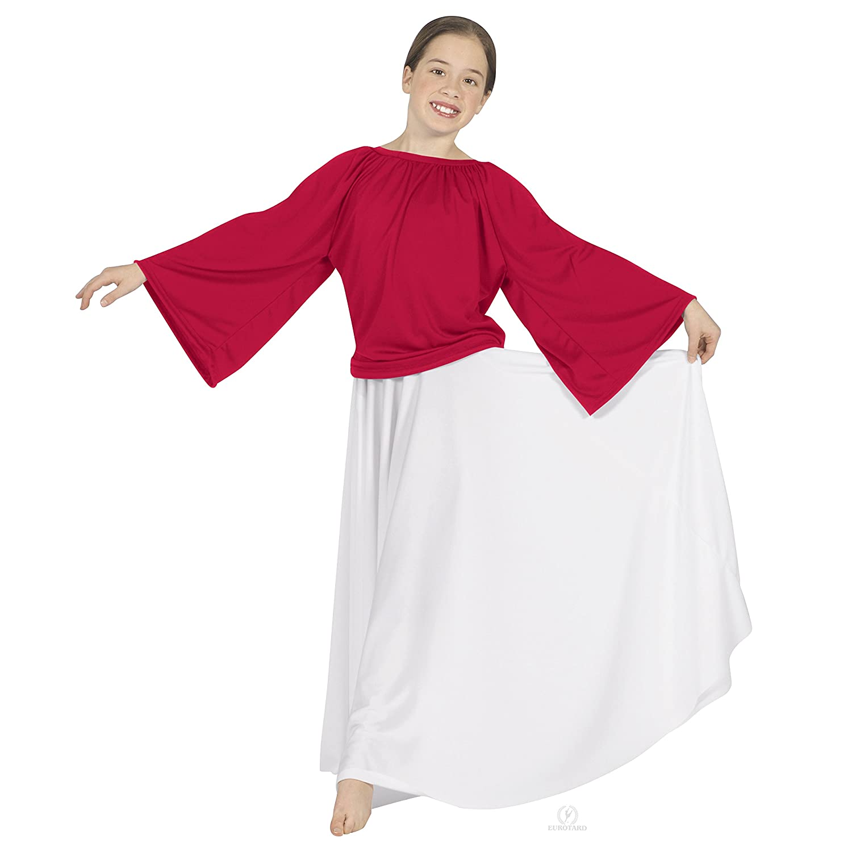 -RED 13730C M Eurotard Girls Unisex Angel Sleeve Blouse