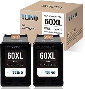 TEINO Remanufactured Ink Cartridge Replacement for HP 60 XL 60XL for PhotoSmart C4780 C4795 C4680 C4650 D110 D110a DeskJet F4480 F4280 F4580 D2530 D2545 D2680 Envy 100 111 (Black, 2 Pack)