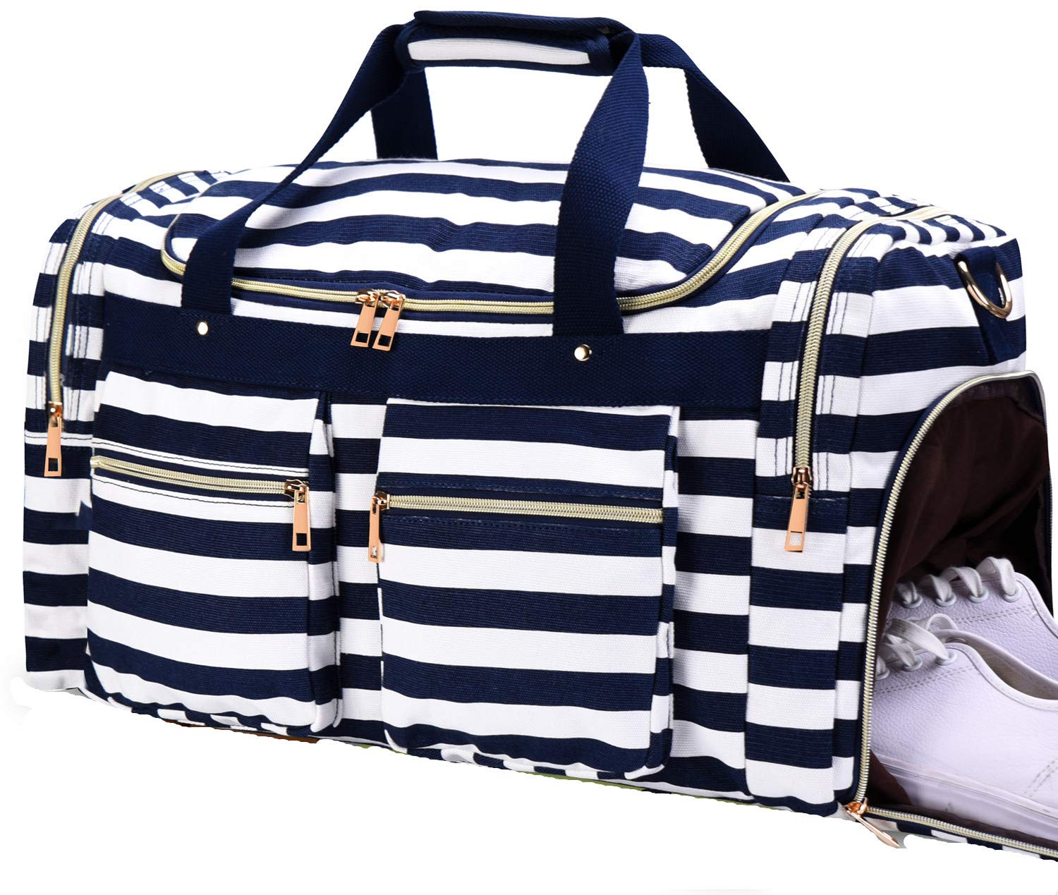Weekender Overnight Duffel Bag Shoe Pocket for Women Men Weekend Travel Tote Carry On Bag (Stripe Blue White 2cm)