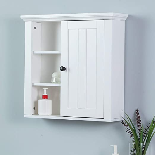 Amazon Com Winsome House White Wood Bathroom Wall Cabinet Home Kitchen