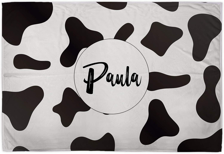 Manta Personalizada. Varios Tamaños. Regalos Personalizados con Nombre o texto. 75x105 cm. Manta Polar Personalizada 1 Cara. Tejido Certificado Oeko-Tex. Manta Suave. Animal Print. CORAZÓN VACA
