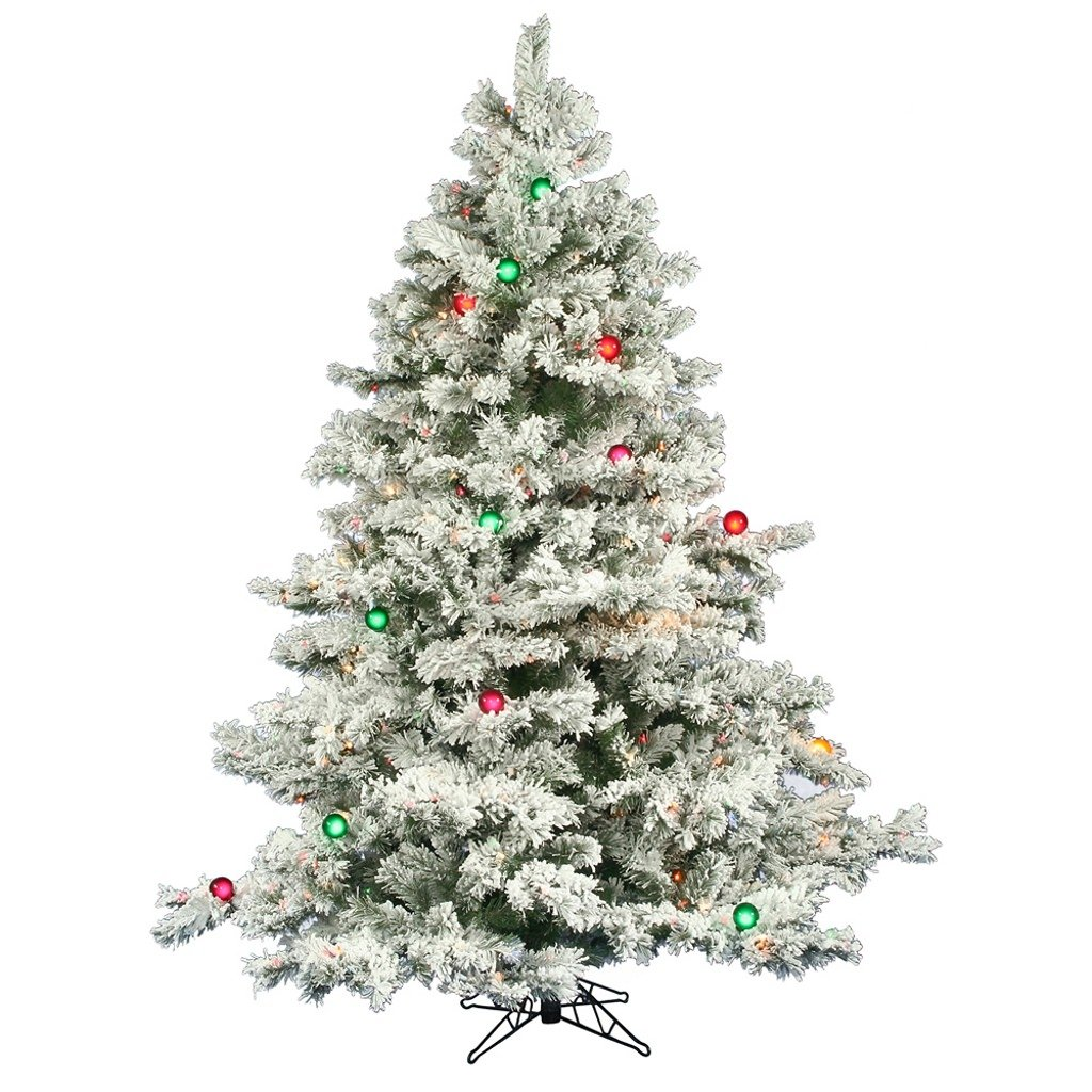 Amazon.com: Pre-lit Multi Light 6.5 ft. Flocked Alaskan Tree: Home ...