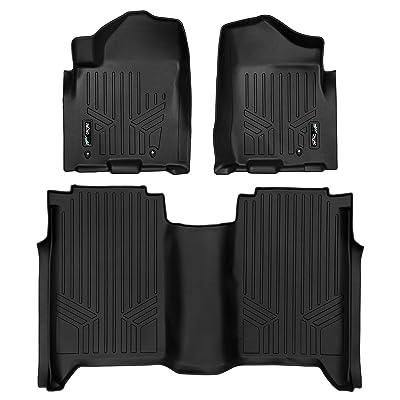 MAXLINER Floor Mats 2 Row Liner Set Black for 2008-2015 Nissan Titan Crew Cab (4 Full Size Doors): Automotive