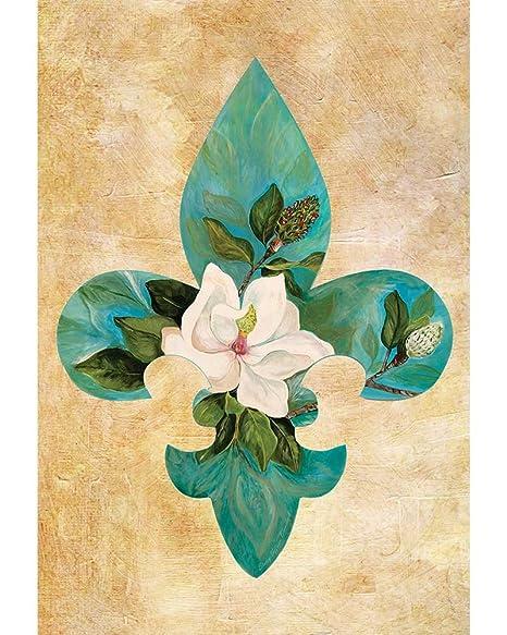 Amazon Com Teal Fleur De Lis Magnolia Brushed Neutral 30 X 44
