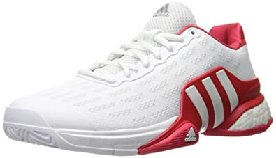 adidas Performance Men's Barricade 2016 Boost Tennis Shoe, White/White/Ray  Red Fabric