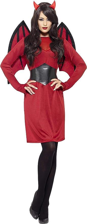 Smiffys-43730S Disfraz económico de Diablo, con Vestido, alas ...