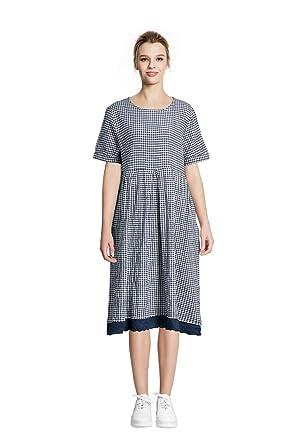 d74ca79c79b YUHEYUHE Women s Casual Loose Summer Soft Clothing Long Midi Cotton Linen  Dresses Blue