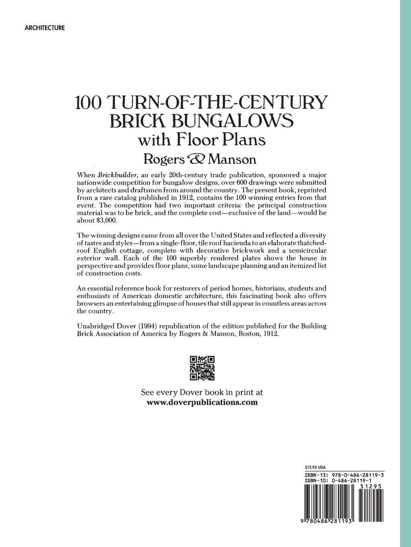 100 Turn Of The Century Brick Bungalows With Floor Plans Dover Architecture Amazon Es Manson Rogers Libros En Idiomas Extranjeros