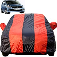 Autofact Car Body Cover for Maruti Wagon r/Wagonr (2000 to 2018) (Mirror Pocket Fabric, Triple Stiched, Fully Elastic, Red/Blue Color)