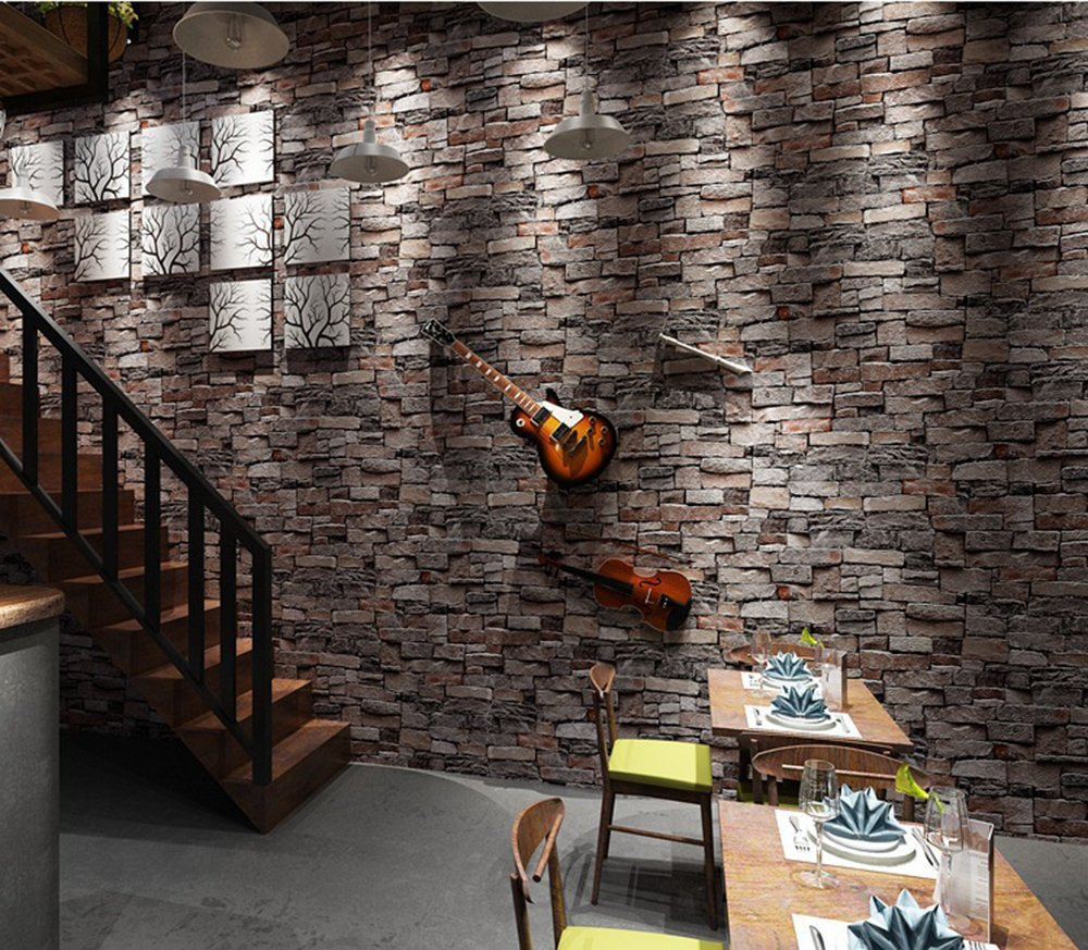 Brick Wallpaper, 3D Stone Textured, Removable and Waterproof for Home Design,Livingroom, Bedroom, Kitchen and Bathroom Decoration 20.8In x 32.8Ft, Gray/Brown/Black by Vopie (Image #3)