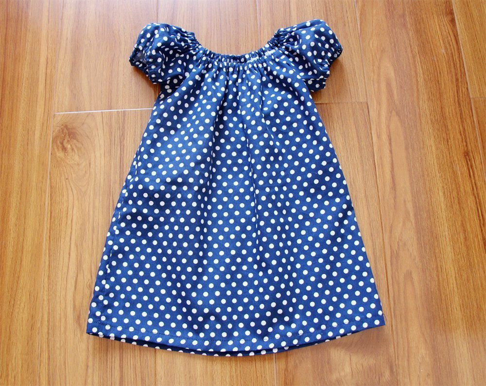 Navy Polka Dot Baby Girl Peasant Dress Short Sleeve Thanksgiving Dress