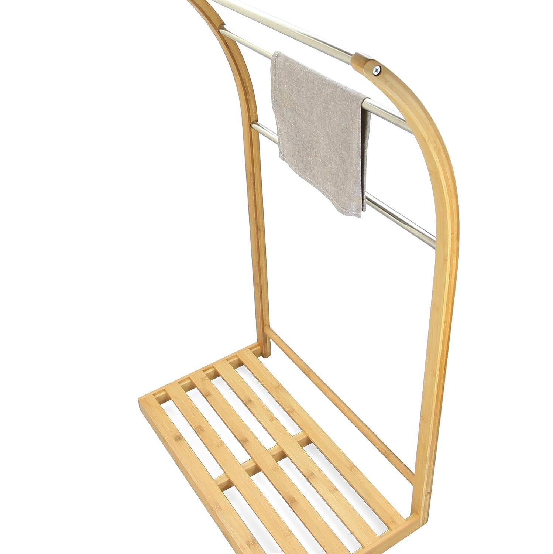 Bathroom Towel Rack Stand with 3 Rails Freestanding Storage Shelf, Natural Bamboo Finoak