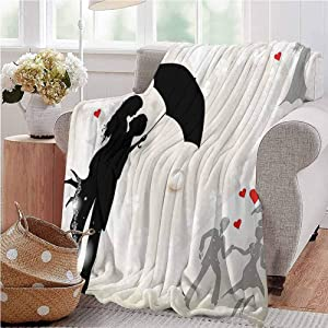 Wedding Decorations Picnic Blanket Couple in Love Valentines Umbrella Hearts Romance in Air Celebration Gifts to Your Family,Friends,Kids Full Size Black White Red