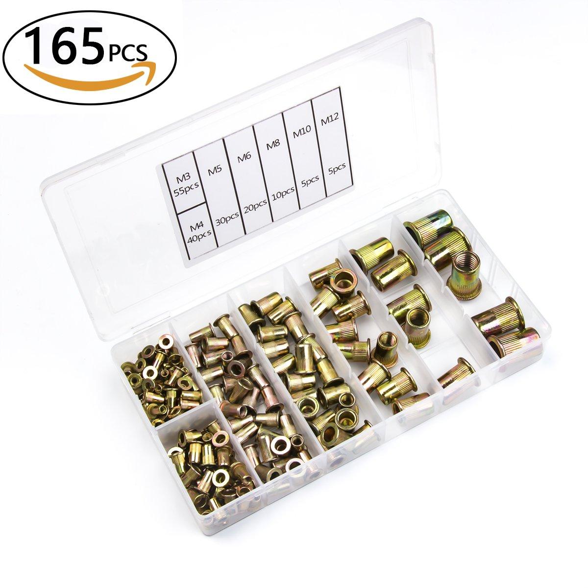 Urlwall 165 PCS Rivet Nut Assortment Kit, Zinc Plated Carbon Steel Rivnut, Threaded Insert Nutsert, Blind Rivet Nuts Fasteners, M3 M4 M5 M6 M8 M10 M12 Set with Box