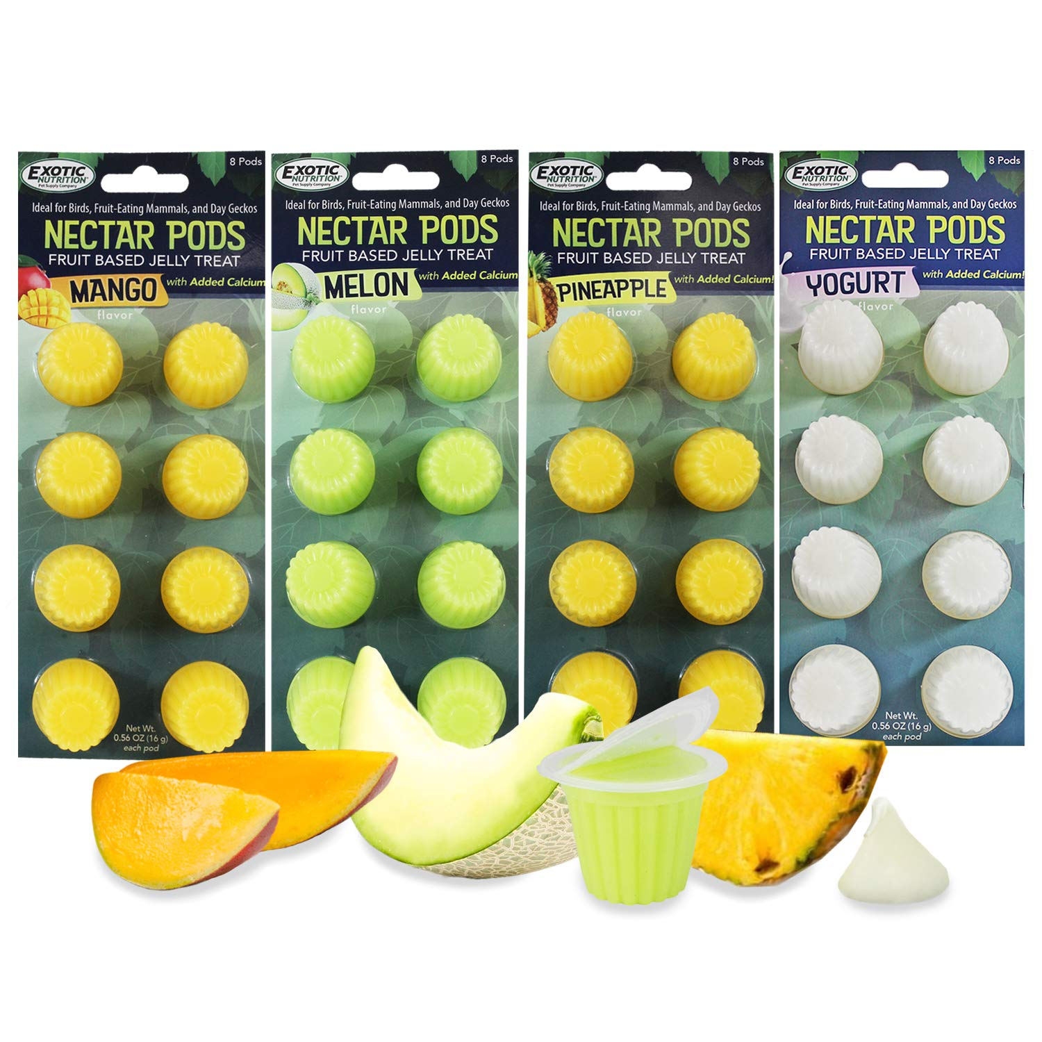 Nectar Pods - Calcium-Fortified Jelly Fruit Treat - Sugar Gliders, Marmosets, Squirrels, Parrots, Cockatiels, Parakeets, Lovebirds, Birds, Hamsters, Day Geckos, Kinkajous & Other Small Pets