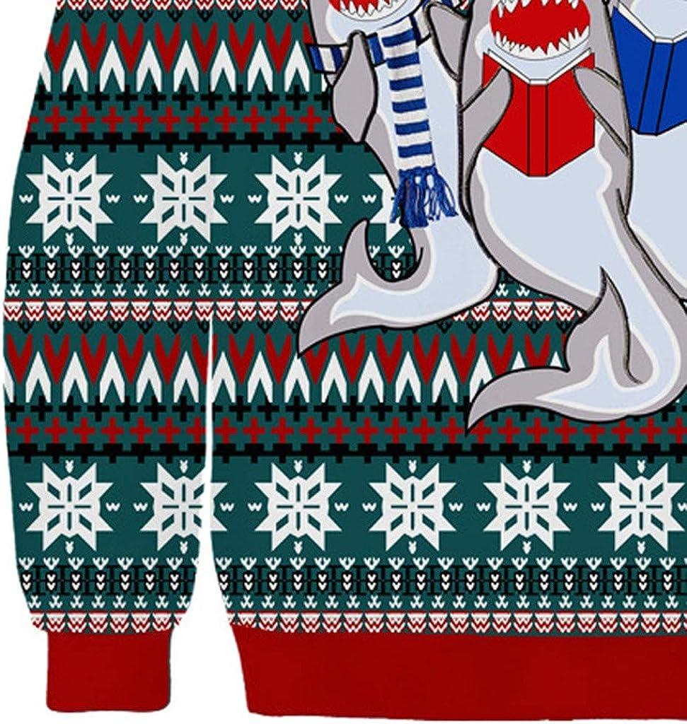 KUDICO Christmas Mens Jumper Xmas 3D Printed Long Sleeve Tops Pullover Casual Round Neck Loose Sweatshirts