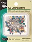 Dritz 44 Color Ball Pins, 1-1/4-Inch (100-Count)