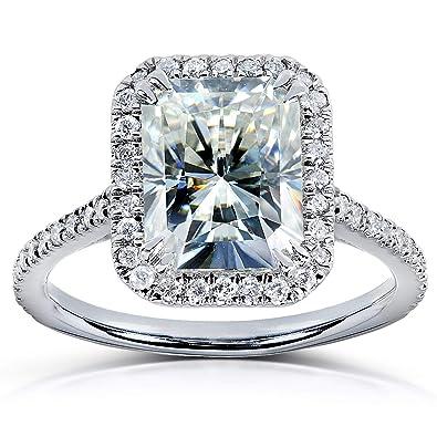 Radiant Cut Moissanite Engagement Ring 3 Carat Ctw In Platinum