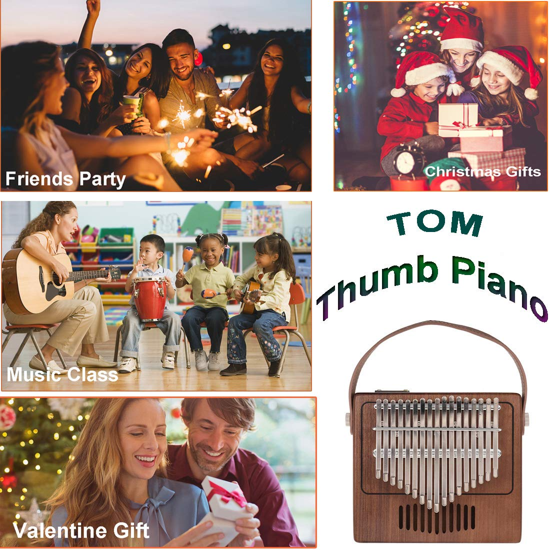 TOM Kalimba, 17 Key Finger Piano with EVA High-performance protective Case, Tune Hammer And Study Instruction 17 Tone Thumb Mbira for Kids Adult Beginners Professionals by TOM (Image #6)