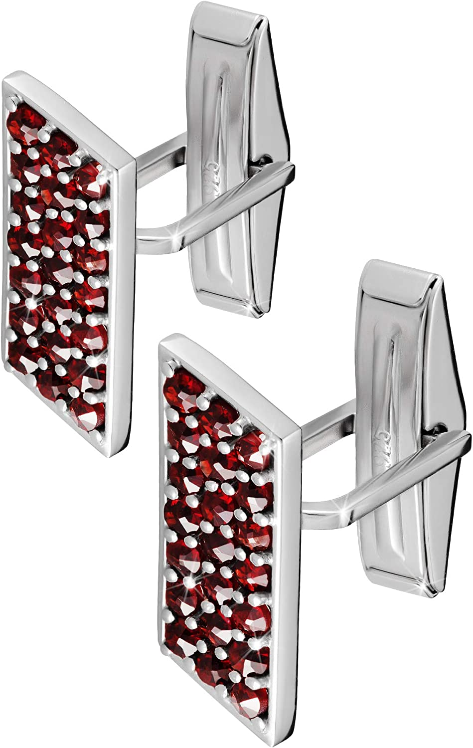 925 Sterling Silver Cufflinks Set for Men Luxury Handmade Designer Cuff Links with Red Bohemian Garnet Stones Ideal for Weddings Great Gift for Fathers Groomsmen /& Best Man
