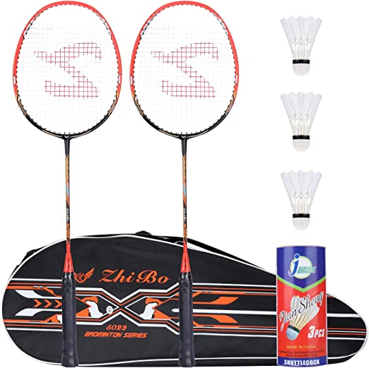 Badminton Racket Set Carbon Male and Female Adult Resistant Student Beginners-2 Black/_675mm