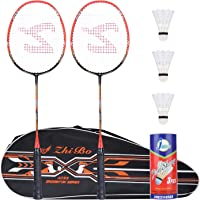 Badminton Racquet,Fostoy Badminton Racket Set-Professional Carbon Fiber Badminton Racket with 3 shuttlecocks and…